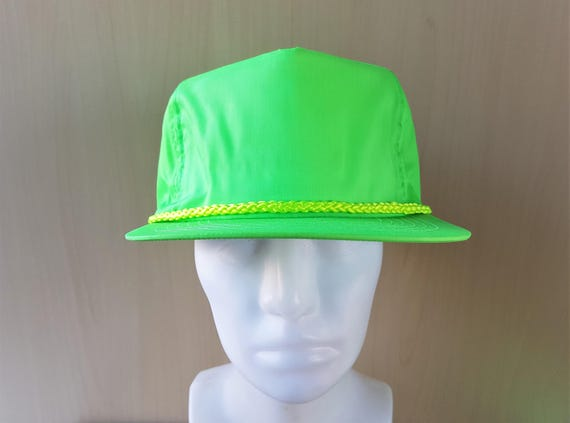 0f463a42e176a6 Vintage 90s Green NEON Blank Rope Lined Snapback Hat | Etsy