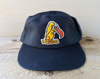 INTERTRUCK Original Vintage 5 Panel Snapback Hat Berk's Vulture Mascot Logo Baseball Cap Rare Nanaimo B.C. Black AJM Ballcap