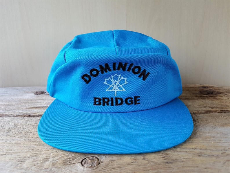d63bc77588ed1 DOMINION BRIDGE Original Vintage 80s Blue 5 Panel Snapback Hat