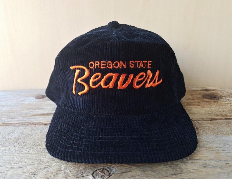 aa4636ce6 Vintage 90s Oregon State BEAVERS Sports Specialties The CORD 'Single Line'  Script Zipback Hat Official NCAA Corduroy Rare Baseball Cap
