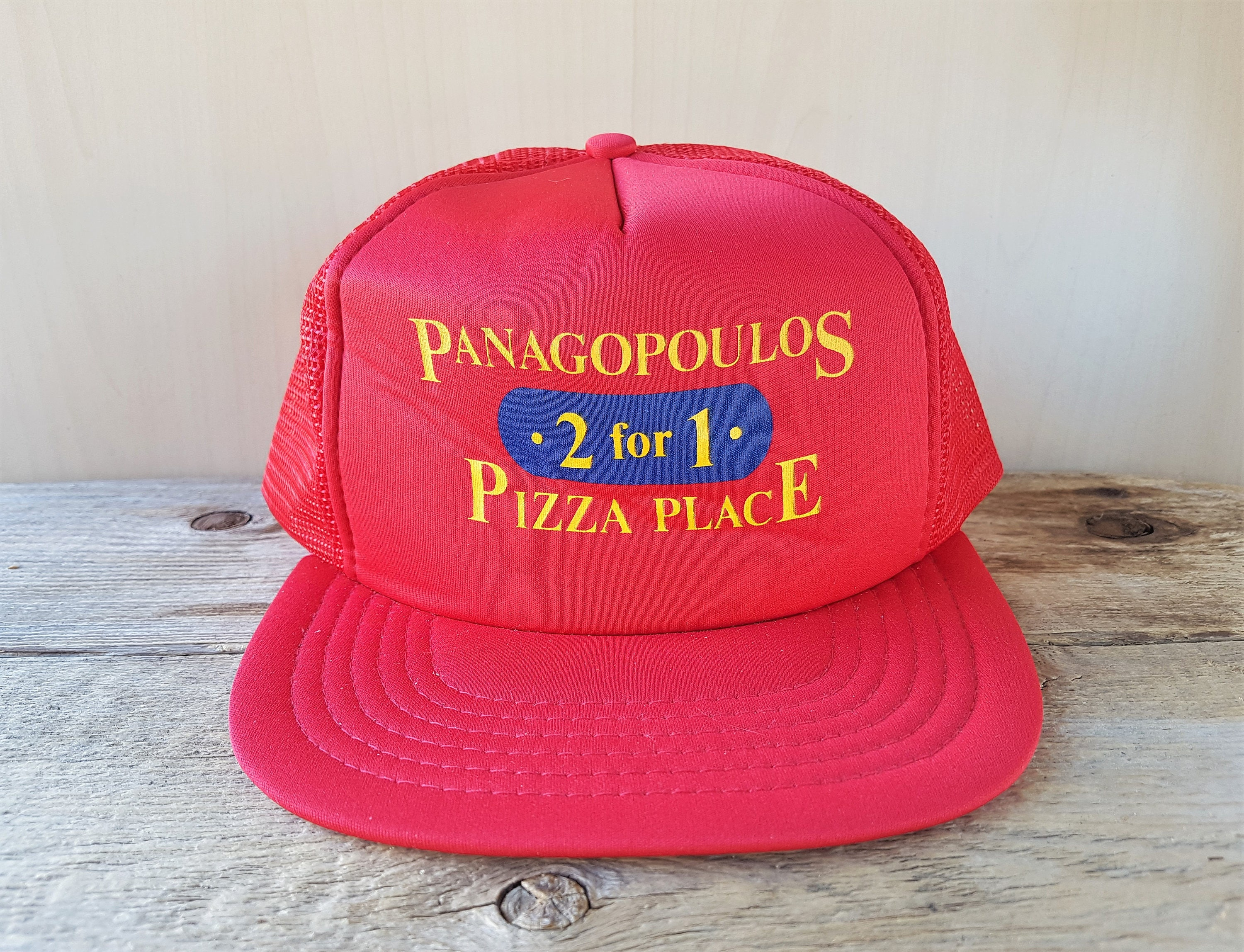 244c6375b12 PANAGOPOULOS 2 for 1 Pizza Place Original Vintage 80s Red Mesh