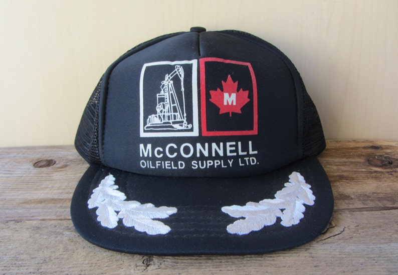 McCONNELL OILFIELD SUPPLY Ltd  Defunct Vintage 80s Trucker Hat Black Mesh  Snapback Cap Laurel Leaf Visor Captain Ballcap Cap It With Quality