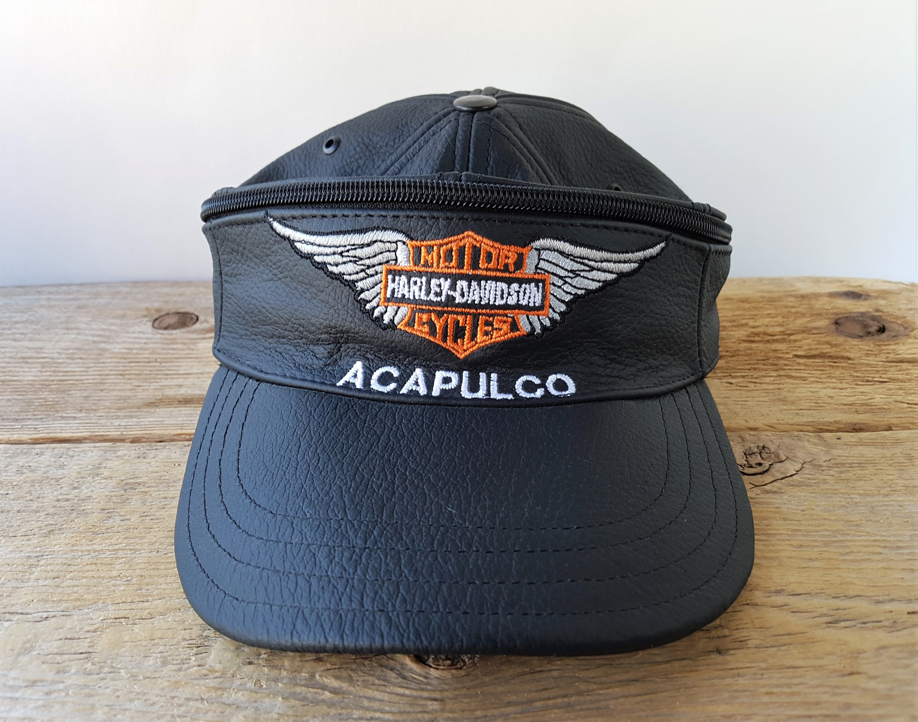 e9aac6a6c HARLEY DAVIDSON Motorcycles ACAPULCO Vintage Genuine Leather Hat / Visor  with Zipper Rare Dual Transforming Full Dome Cap & Sun Visor