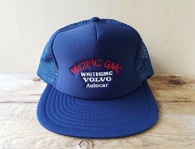 29922546b PACiFIC GMC WHiTEGMC, VOLVO, Autocar Original Vintage 80s Trucker Hat Navy  Blue Mesh Snapback Promo Cap Defunct Truck Dealer Wilson Ballcap