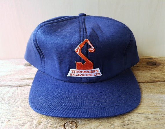 STROHMAIERS EXCAVATING Ltd. Original Vintage 80s Dark Blue  902a831d328f