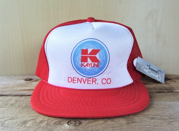 f39dc067f Vintage KAYLINE Denver, CO Red Mesh Trucker Snapback Hat Jeep Soft Top  Suppliers Promo Baseball Cap Cotton Cool Young An Deadstock Ballcap