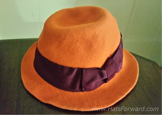 d00b6d378 CHRISTYS Crown Collection by Tony Merenda Vintage 90's Orange Pumpkin Felt  Fedora Hat with Floral Satin Inner lining Size 6 1/2 53 cm