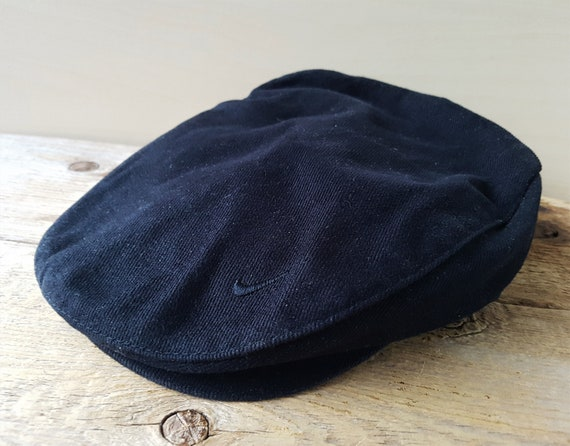 782a6e12fc4 ... switzerland nike original vintage cabbie newsboy black cotton hat  button etsy 597e5 1a7a4