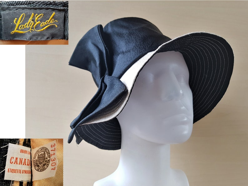 ba0ee296b69ab2 Vintage 50s Deep Floppy Top Hat by LADY EADE Large Bow
