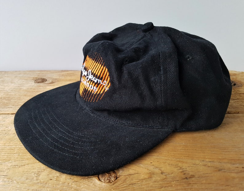 Vintage 90s PEPE JEANS LONDON Strapback Hat Low Profile Unstructured Cotton Baseball Dad Cap Fersten Embroidered Orange P Logo