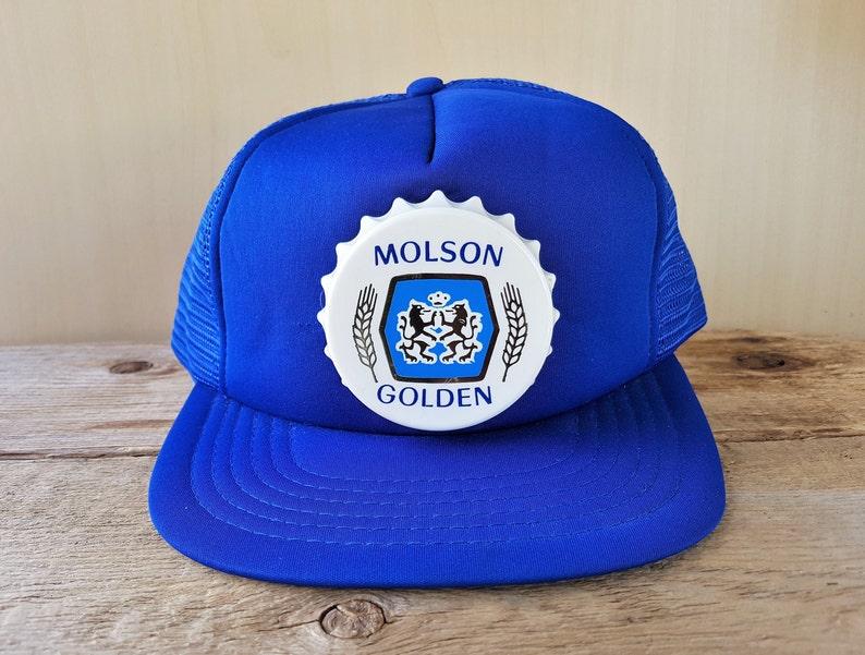 bd271fc9ab9f0 MOLSON GOLDEN Beer Vintage 80s Original Blue Mesh Trucker