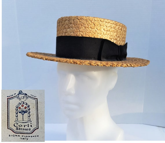 Vintage Skimmer Boaters Hat,Straw Hat,Size 6 34