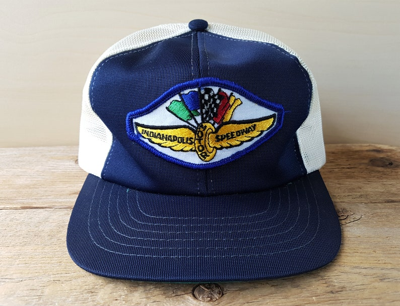 39662bec5 INDIANAPOLIS MOTOR SPEEDWAY Vintage 80s Mesh Trucker Snapback Hat Indy 500  Racing Promo Throwback Baseball Cap Polyester Young An Ballcap