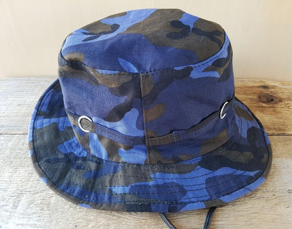 d50aaa0d146 Army Camouflage Boonie Hat Navy Dark Blue Original Vintage