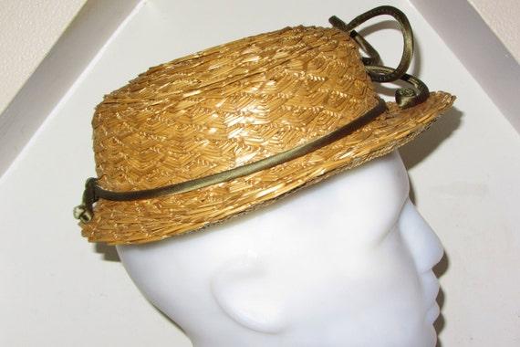 Vintage anni 20 Mini paglia intrecciata Boater cappello con  904e75078e06