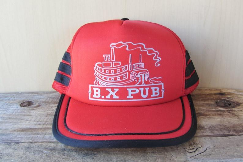 B.X PUB Original Vintage 80s Red Mesh Side Striped Trucker  62339a7dd545