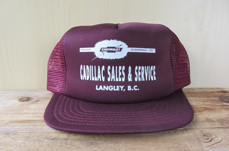 b51e17725ea21 CADILLAC Sales   Service Vintage 80s Trucker Hat Burgundy Mesh