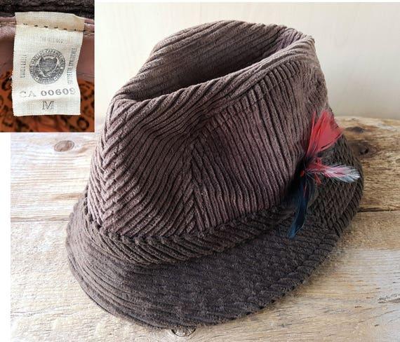 Vintage 70s Brown Thick Wale Corduroy FEDORA TRILBY Hat Union  e867535b887