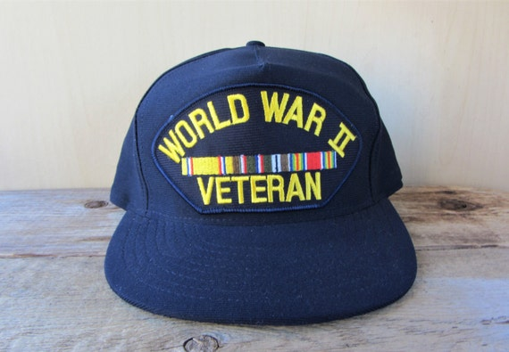 WORLD WAR II Veteran Vintage 90s Snapback Hat Eagle Crest  ec0b2090659a