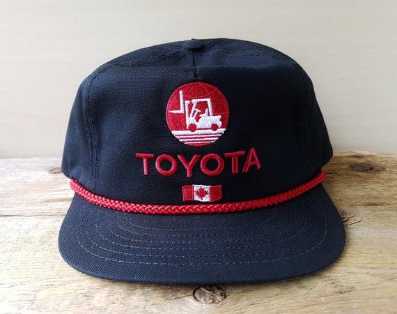 TOYOTA FORKLIFT Canada Vintage 90s Black Snapback Hat Red Rope  082971078df