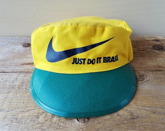 Vintage NIKE Just Do It BRAZIL Painter Hat Yellow Green  dc81badb06e7
