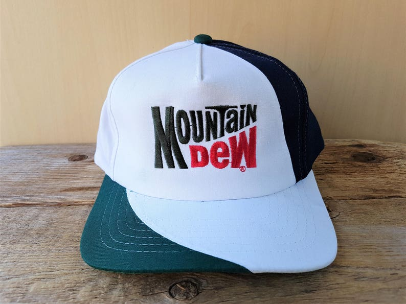 MOUNTAIN DEW Vintage 90s Snapback Hat Triple Tone Embroidered  8710d4240083