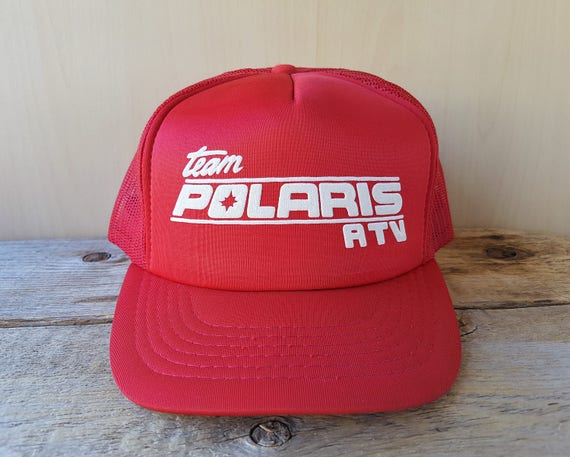 Team POLARIS ATV Vintage 80s Red Trucker Hat Red Mesh Original  3b2c3b727113