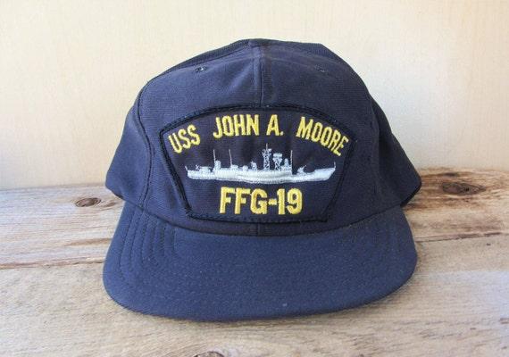 ca134e7a2ee USS John A. Moore FFG-19 Vintage 80s Snapback Hat Navy
