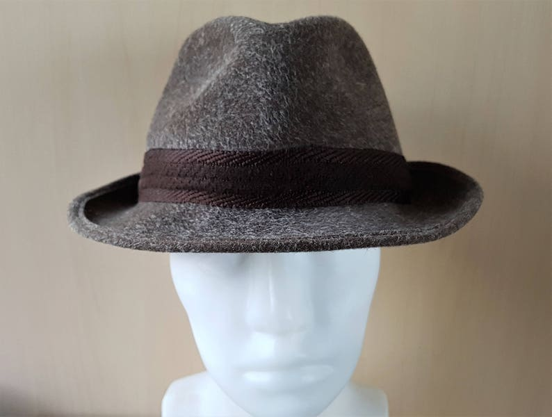 Vintage 60s REIN HAAR Fur Felt Fedora Hat by STANTON London Fashion  Designer Gray Haired Sable Brown Tone Estate Mens Medium Size 4b384ffb9c8
