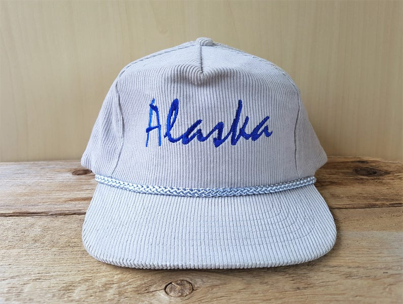 Vintage ALASKA Gray Corduroy Rope Lined Snapback Hat  9339ab65d2b