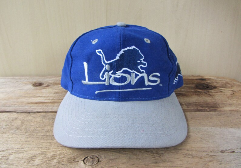 d226c8ae Detroit LIONS Original Vintage 90s Snapback Hat Official NFL Cap by The  Game Embroidered Script 2 Tone Football Team Ballcap Side Lion Logo