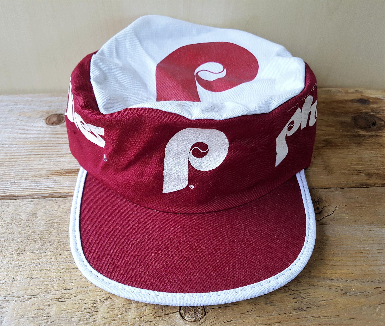 Vintage 80s Philadelphia PHILLIES Painter Hat NcAA Pillbox  4c13bab7ab0
