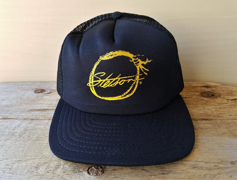 a350317dc Rare Vintage STETSON Cologne After Shave Promo Hat Black Mesh Trucker  Snapback Baseball Cap USA AjD Fragrance Promo Original Retro Ballcap