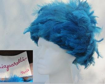 Gorgeous Rare Vintage 40s Elsa Schiaparelli Bold Tall Turquoise Blue Feather Hat Paris Haute Couture Queen of Fashion