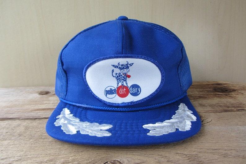 8f0ae0bf08b POLKA DOT DAIRY Original Vintage 80s Trucker Blue Hat Mesh