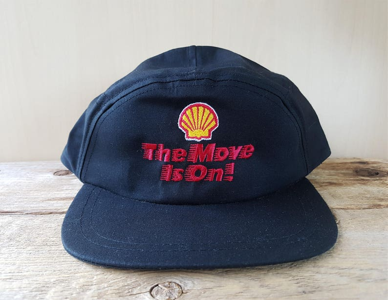 4296071963ba8 SHELL Gasoline The Move Is On Vintage 80s Black 5 Panel