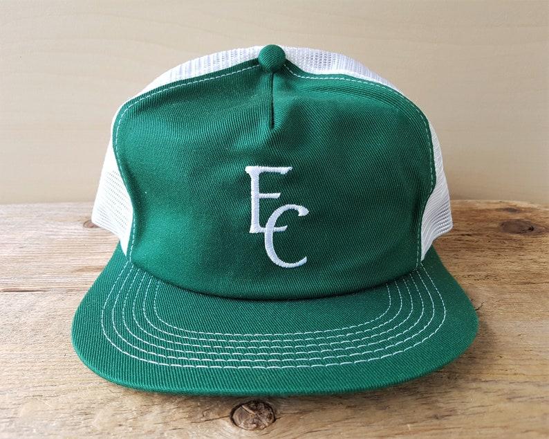 bb6ff917af20f Vintage 80s EC Stitched White Mesh Green Trucker Hat K-Brand
