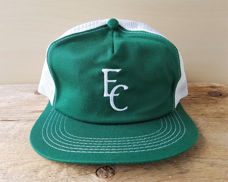 887df58f Vintage 80s EC Stitched White Mesh Green Trucker Hat K-Brand | Etsy