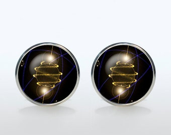 Quantum Physics Cufflinks Silver plated Atom Cuffl inks for men and women Accessories science invention black yellow