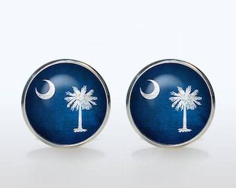 Custom flag cufflinks flag South Carolina Cuff links personalized gift for man gift for boyfriend wedding cufflinks groom gift idea