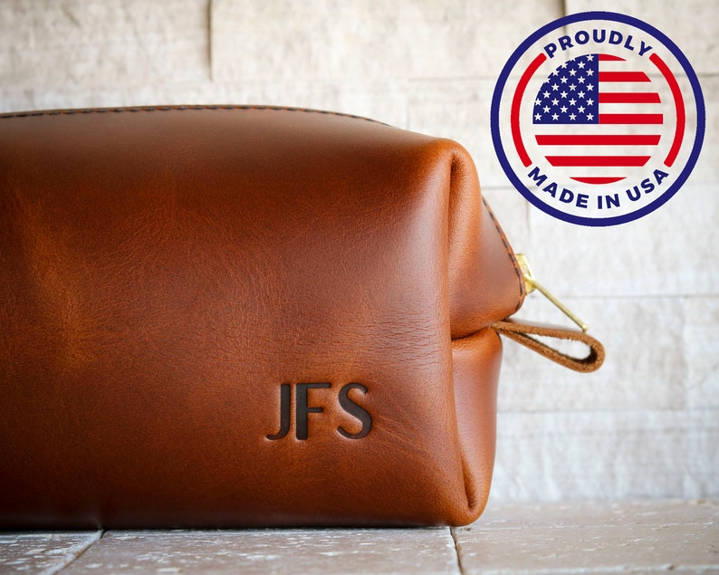 SHIPS NEXT DAY  X.L Personalized Leather Dopp Kit Third image 0