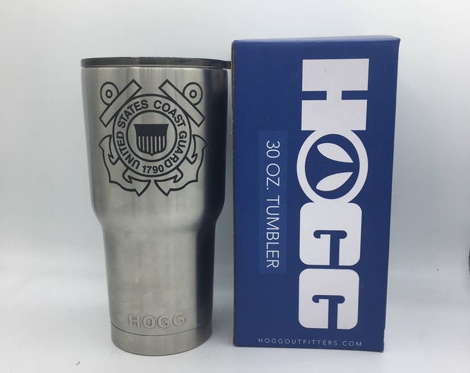 Coast Guard Engraved Stainless Tumblers 30oz  20oz can holder and bottles- **SPECIAL** Great for Gifts!