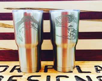Gone Fishing Etched Cups, bottles, can holders, bottle openers Gifts for Dad or mom