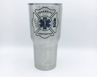 Firefighter paramedic Tumblers, Bottles, Can Holders, and more. Custom laser engraving
