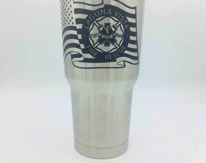 American flag with military seal, police badge, fire dept logo, star of life or other image on a 30oz tumbler laser engraved