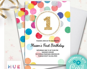 Rainbow Confetti 1st Birthday Invitation Template EDITABLE FILE