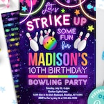 bowling birthday invitation instant download | let's strike up some fun bowling party invitation | rainbow neon glow girls birthday invite