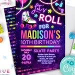 roller skating birthday invitation instant download | let's roll roller skate party invitation | girls neon rainbow glow birthday invite