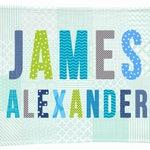 baby name blanket personalized boy baby blanket | blue green fleece minky blanket nursery baby's room | receiving blanket | boy baby gift