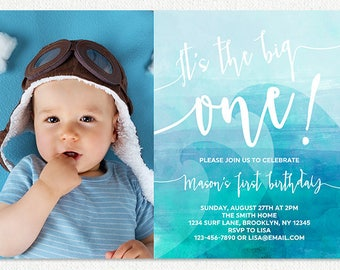 the big one 1st birthday invitation, blue boys wave first birthday invitation with photo picture, beach surfing watercolor digital invite